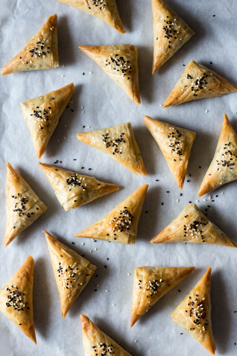 vegan spanakopita triangles baking tray