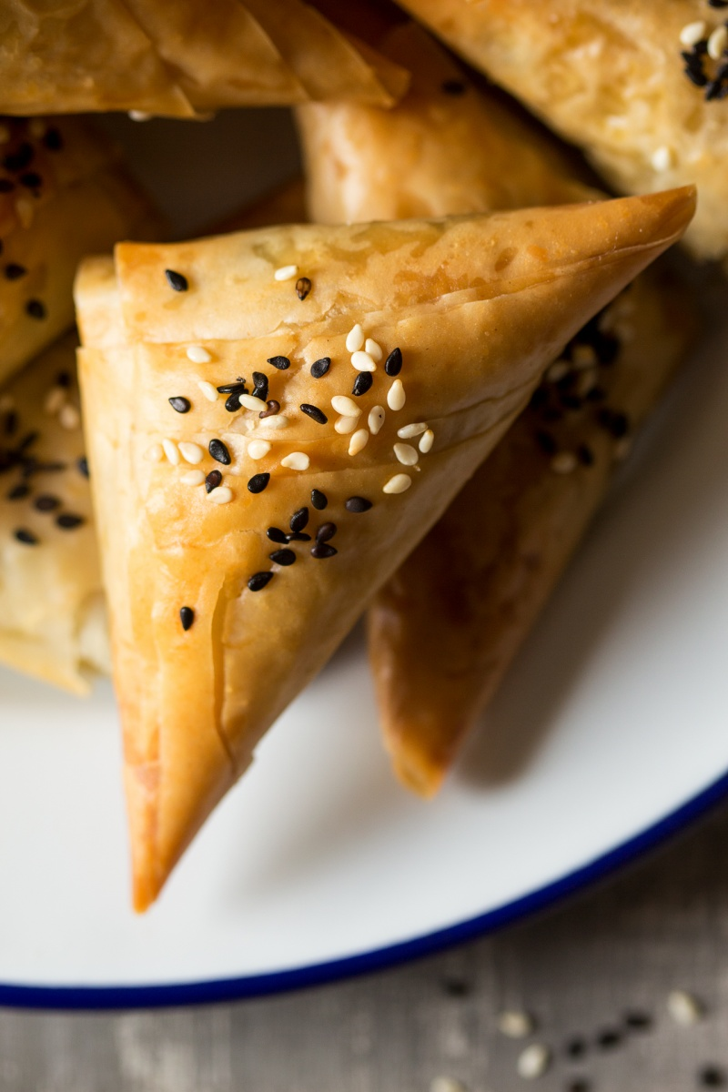vegan spanakopita triangles close up