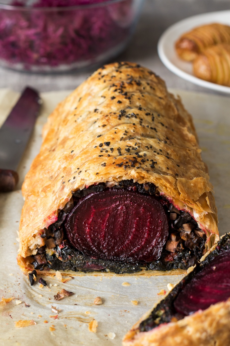 Beet Wellington with balsamic reduction - Lazy Cat Kitchen