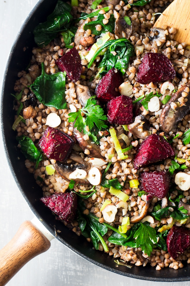 buckwheat beetroot salad in a pan