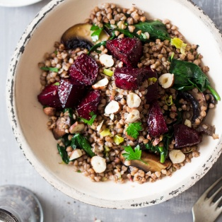 buckwheat beetroot salad portion