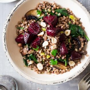 buckwheat beetroot salad portion