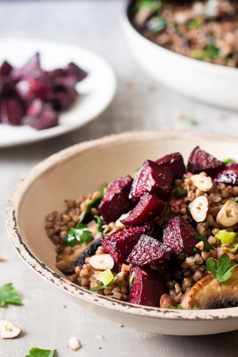 buckwheat beetroot salad sideview