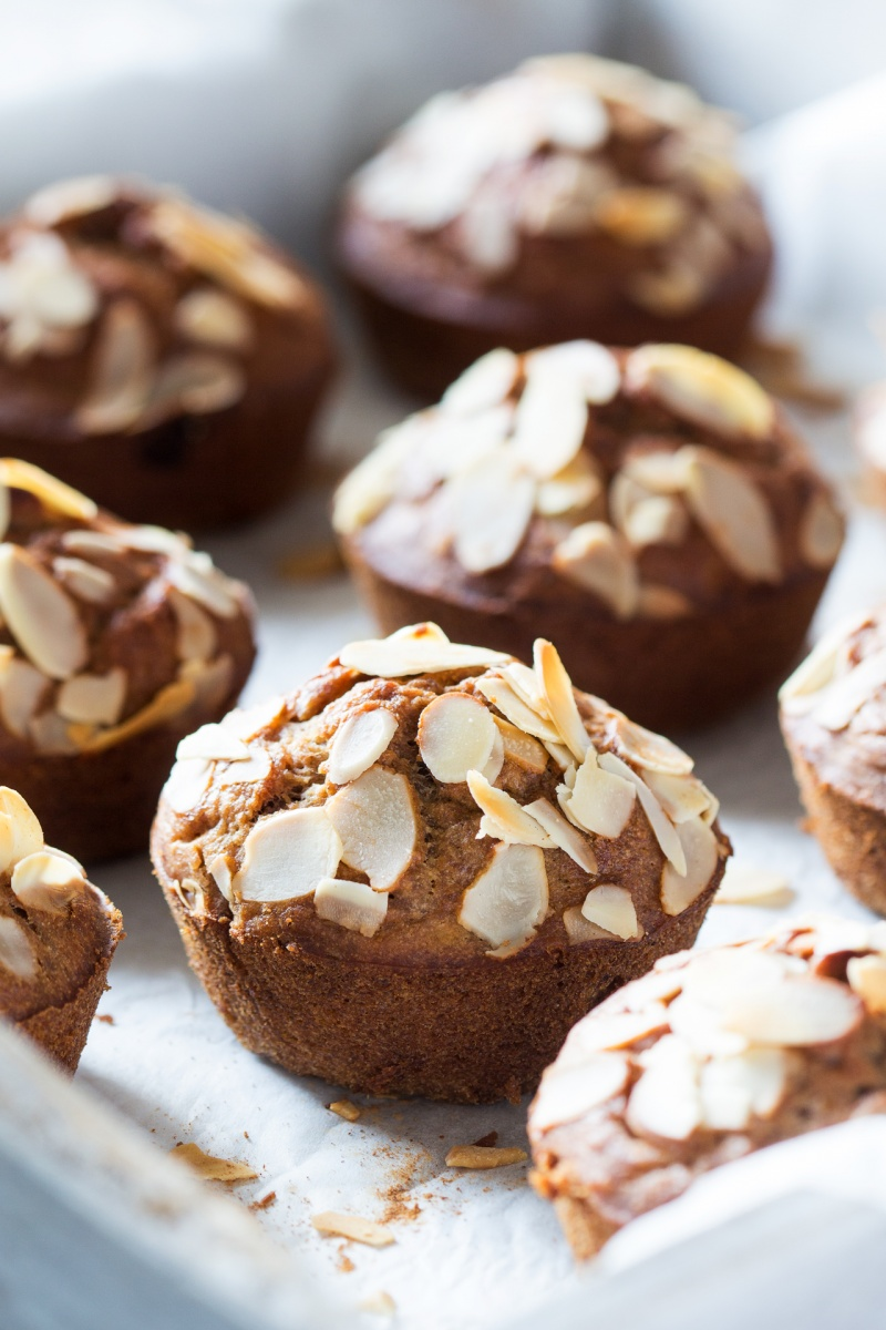 glutenfree banana muffins on tray