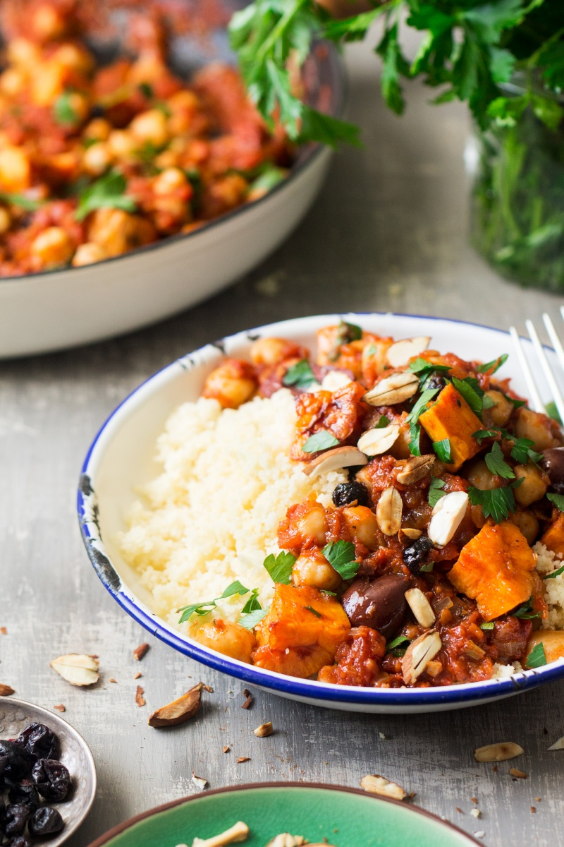 moroccan chickpea stew plate