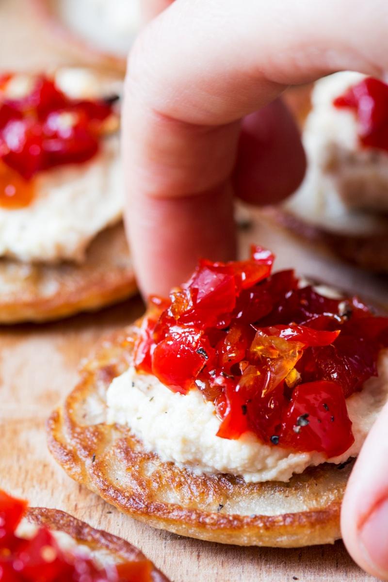 vegan blinis red pepper relish close up