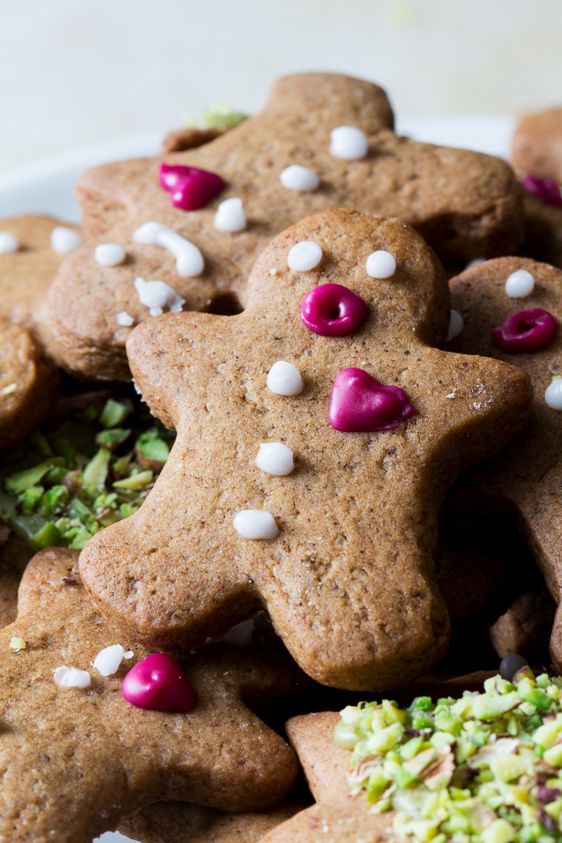 vegan gingerbread men close up
