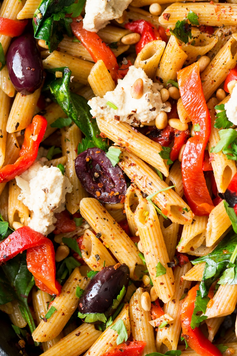 vegan red pepper pasta close