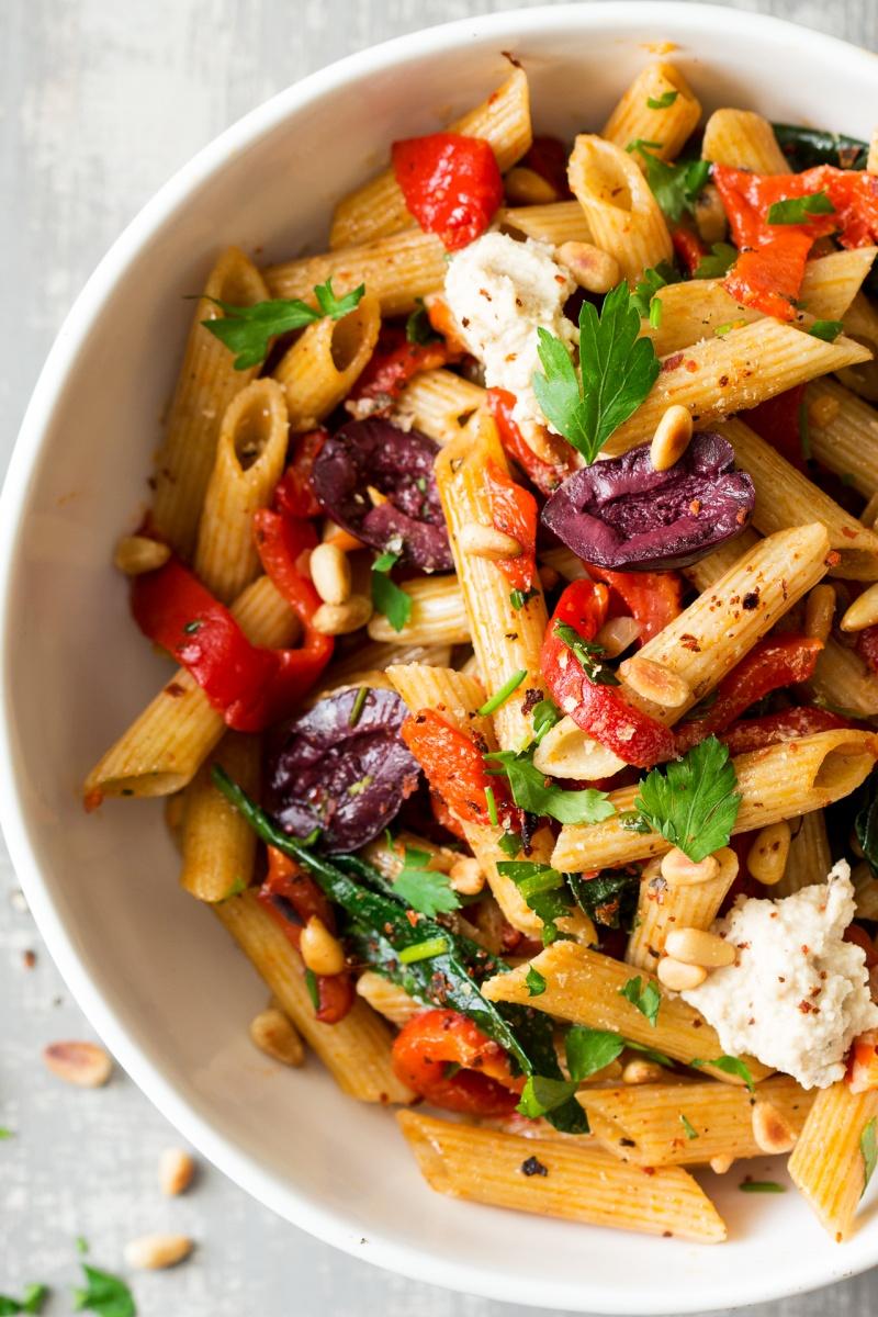 vegan red pepper pasta ingredients macro
