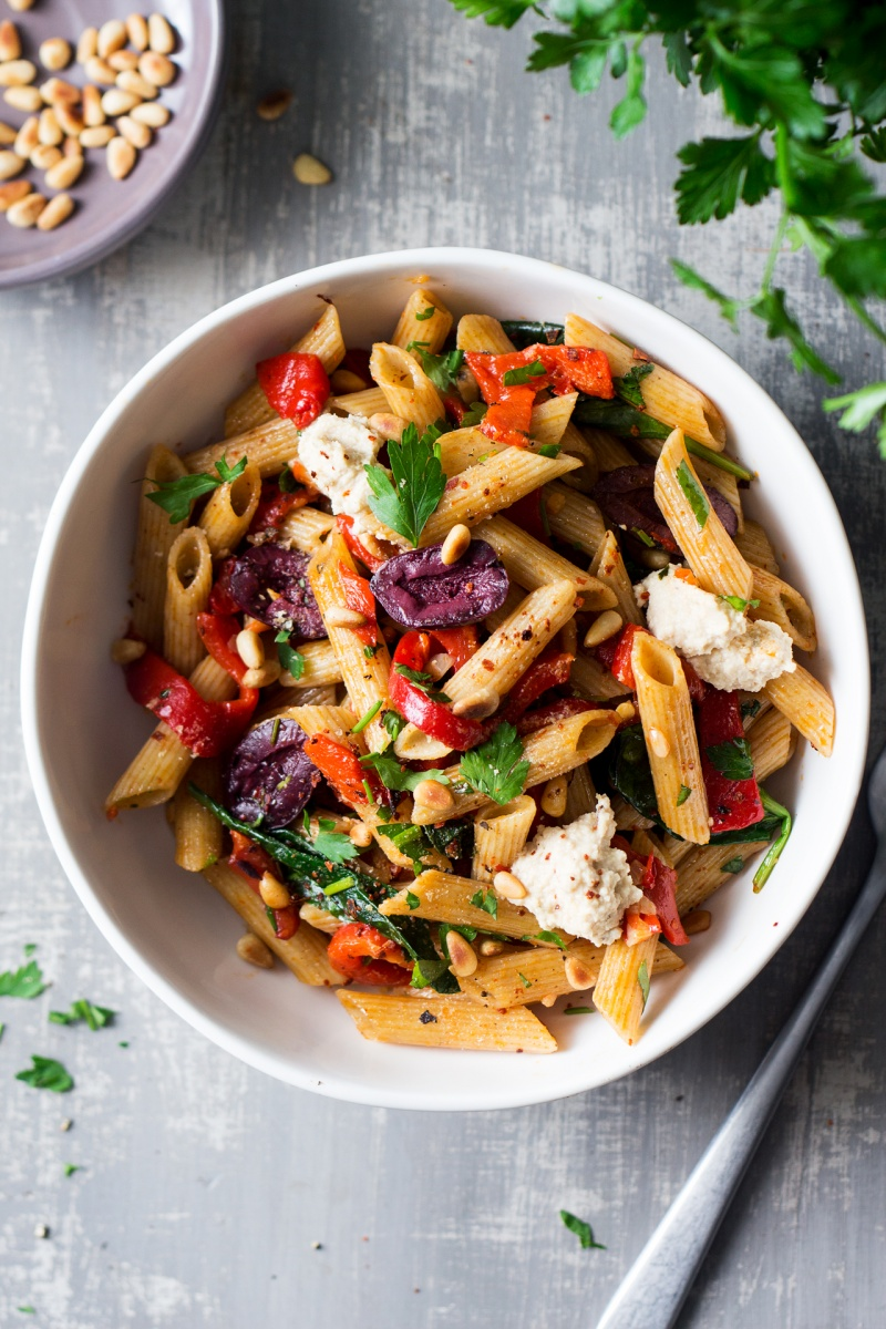 vegan red pepper pasta - lazy cat kitchen