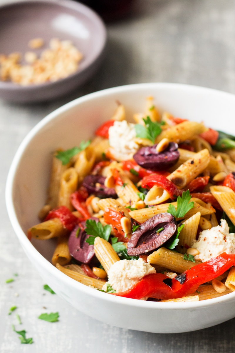 vegan red pepper pasta sideview