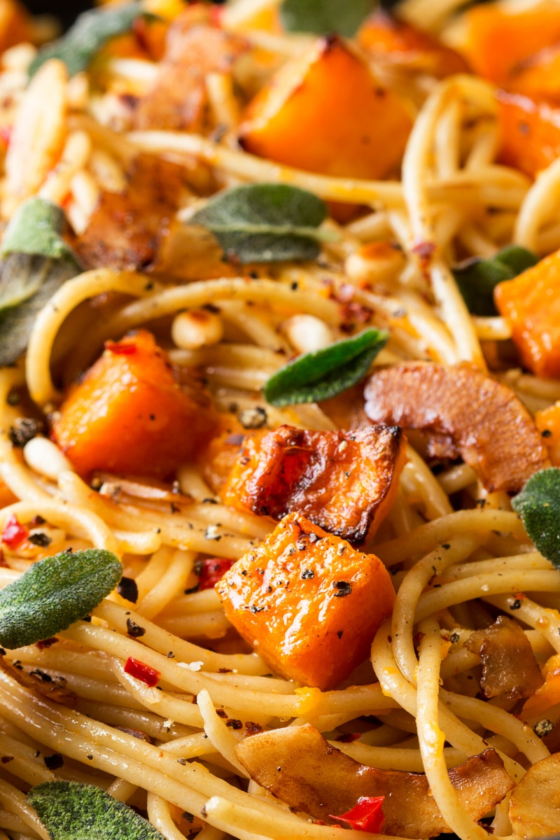 vegan pumpkin pasta closeup