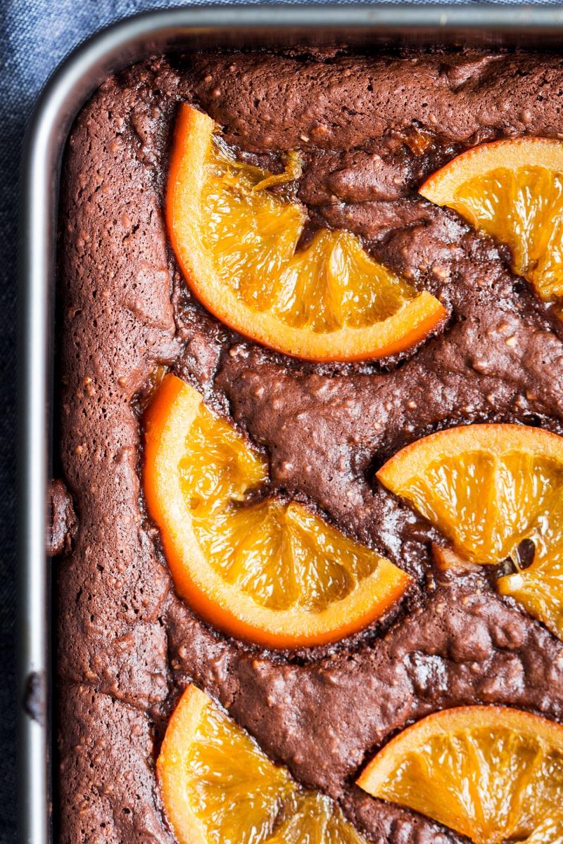 gooey chocolate brownies orange closeup
