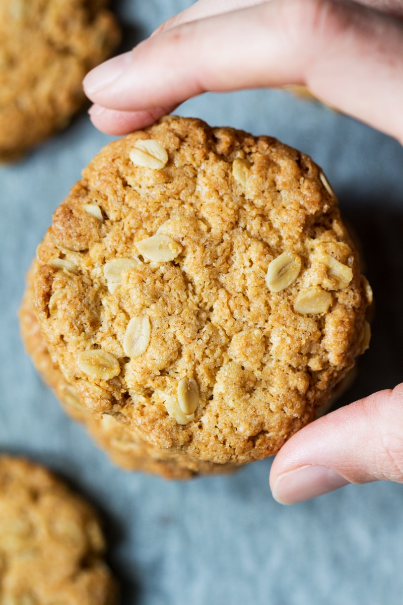 vegan anzac biscuits close up
