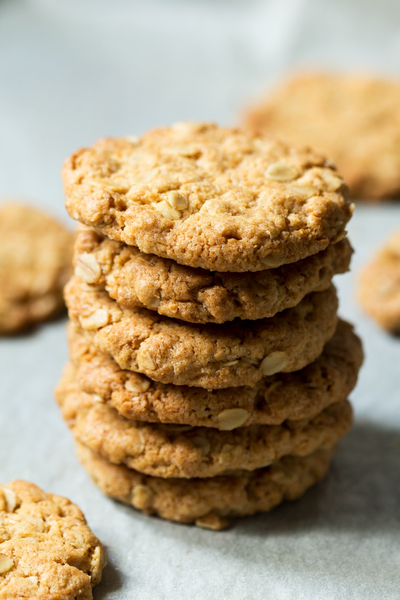vegan anzac biscuits stacked