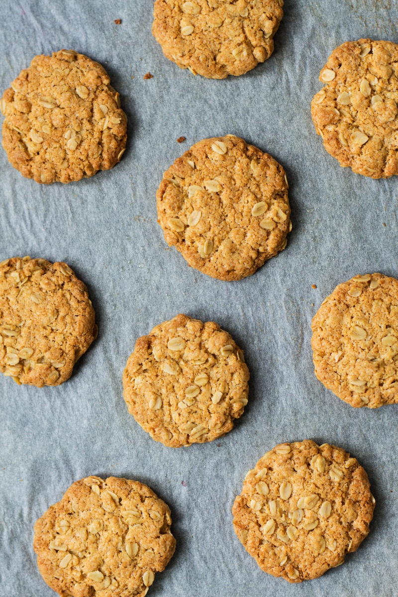vegan anzac biscuits tray