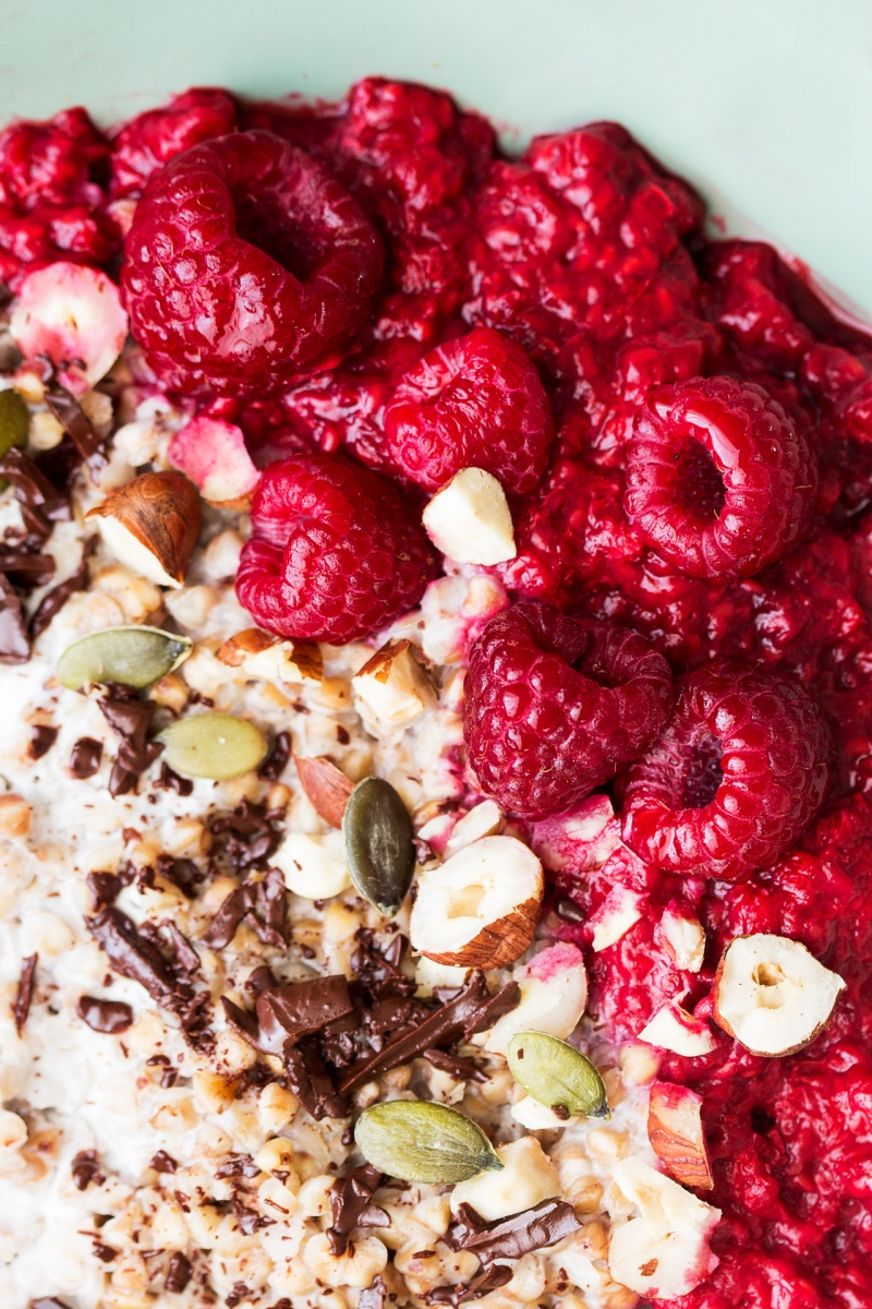 gluten free porridge with raspberries close up