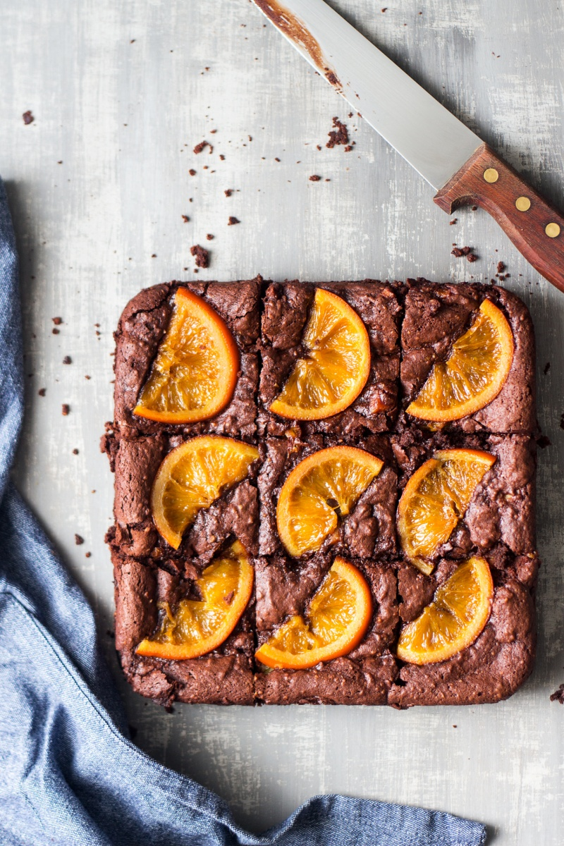 gooey chocolate brownies orange cut