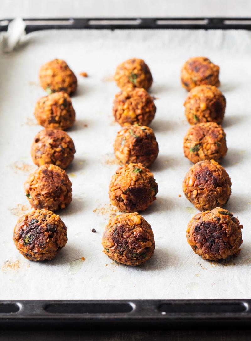 moroccan inspired vegan meatballs baked