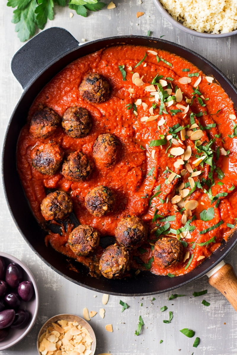 moroccan inspired vegan meatballs pan