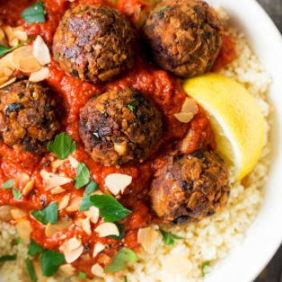 moroccan inspired vegan meatballs portion