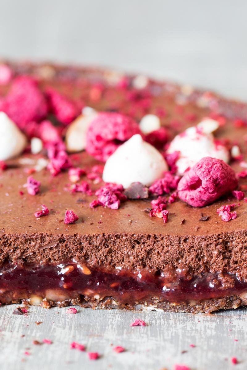vegan chocolate mousse raspberry tart