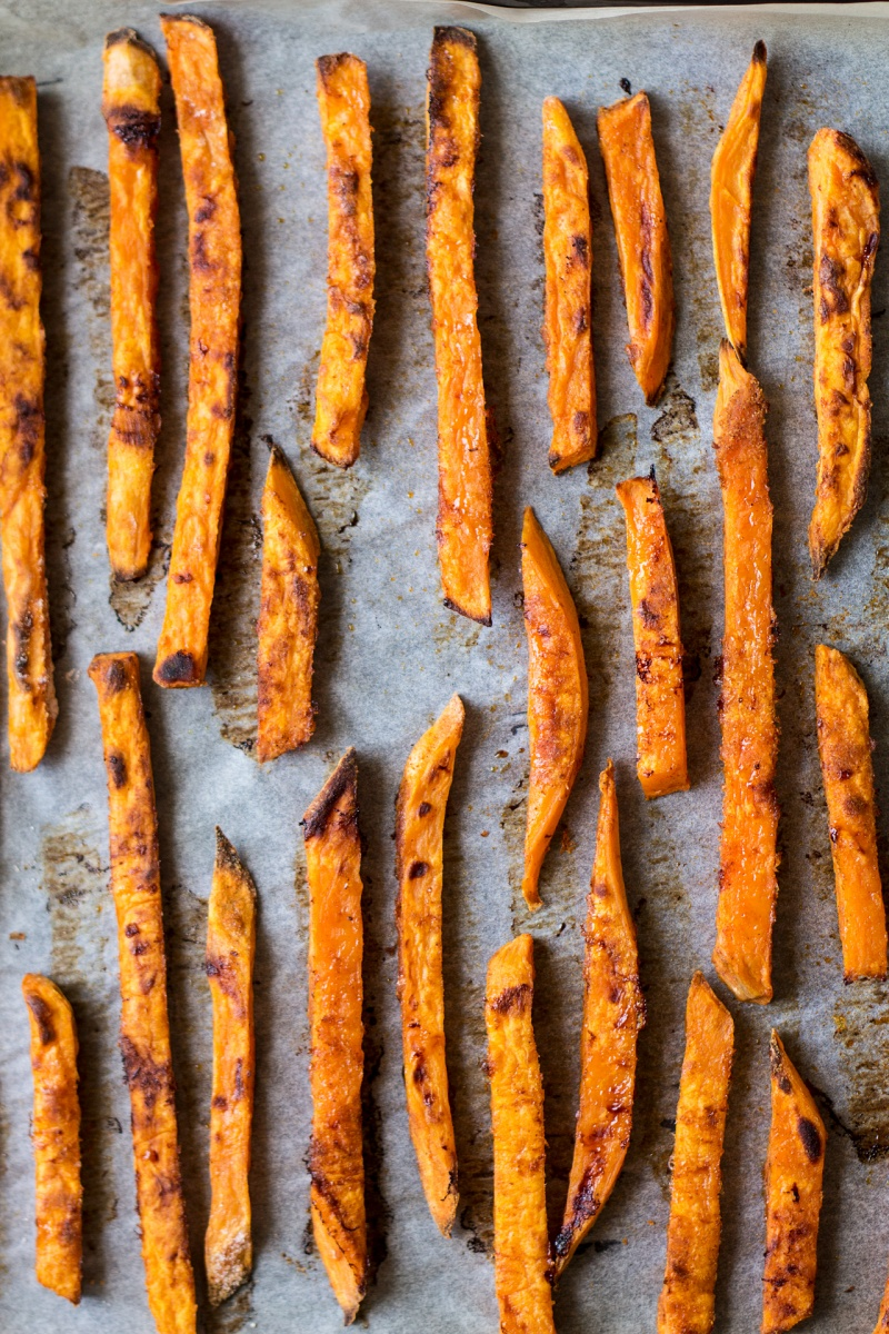 homemade vegan bbq sauce sweet potato fries baked