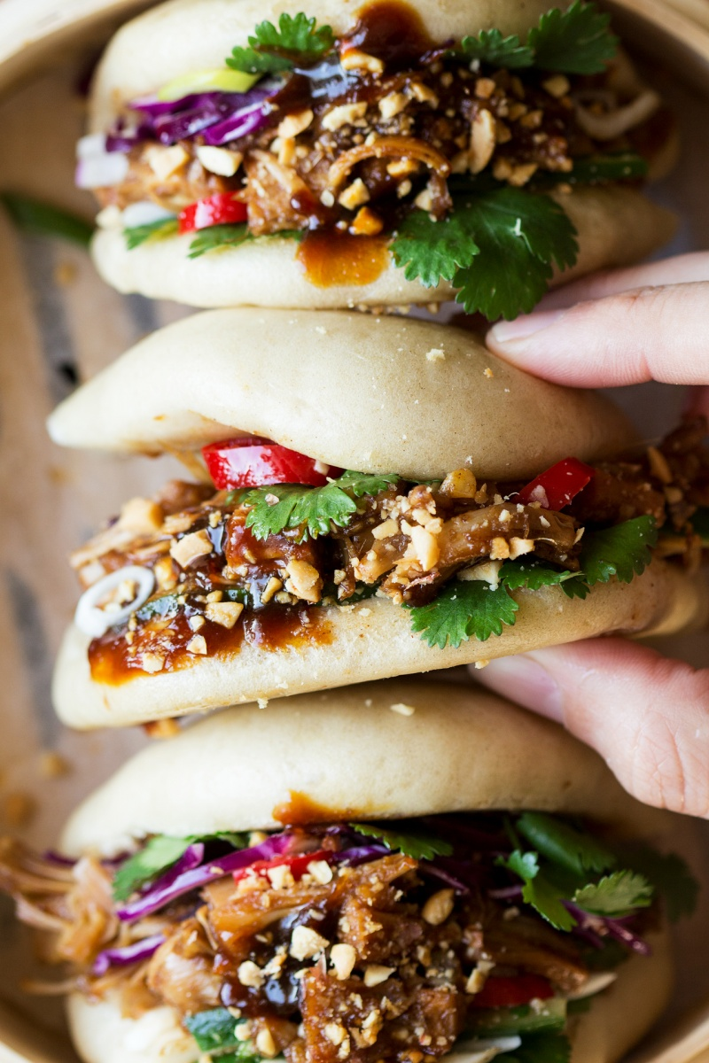 vegan bao buns filled