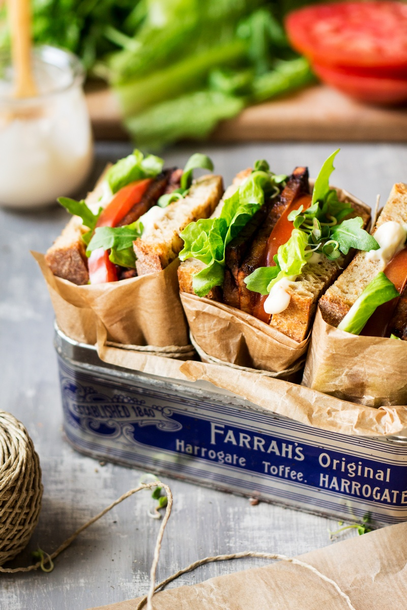 vegan blt sandwich box