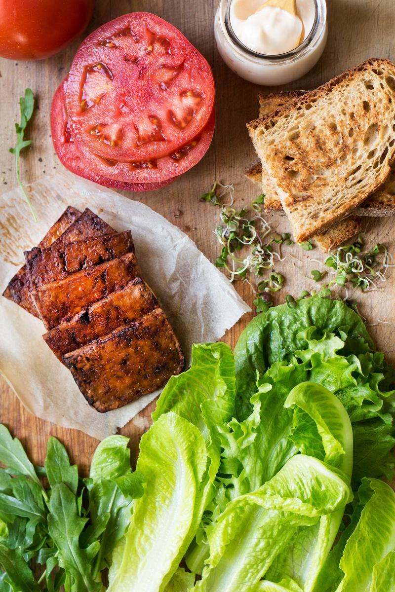 vegan blt sandwich components