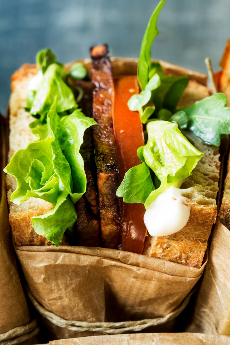 vegan blt sandwich side on