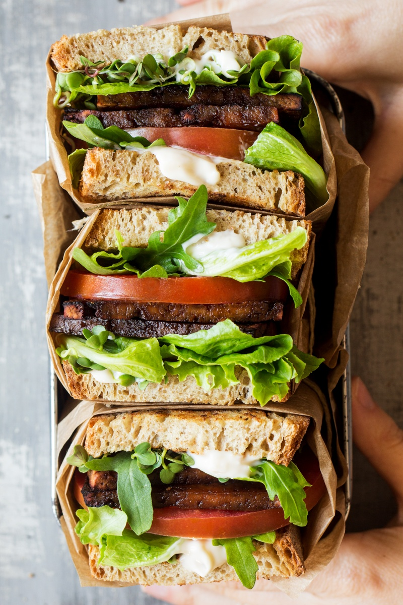 vegan blt sandwich three