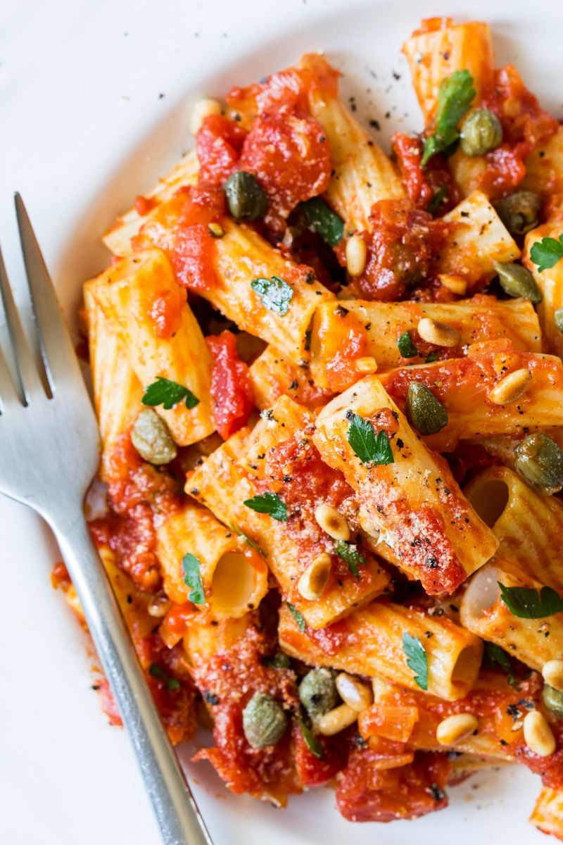 vegan rigatoni close up