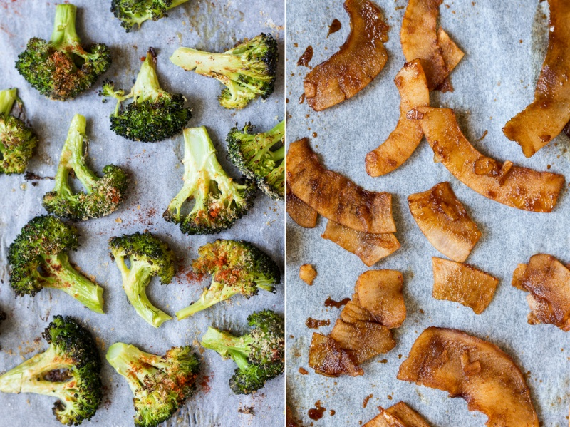 charred broccoli vegan bacon