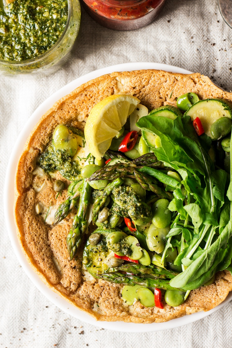 vegan chickpea pancake close