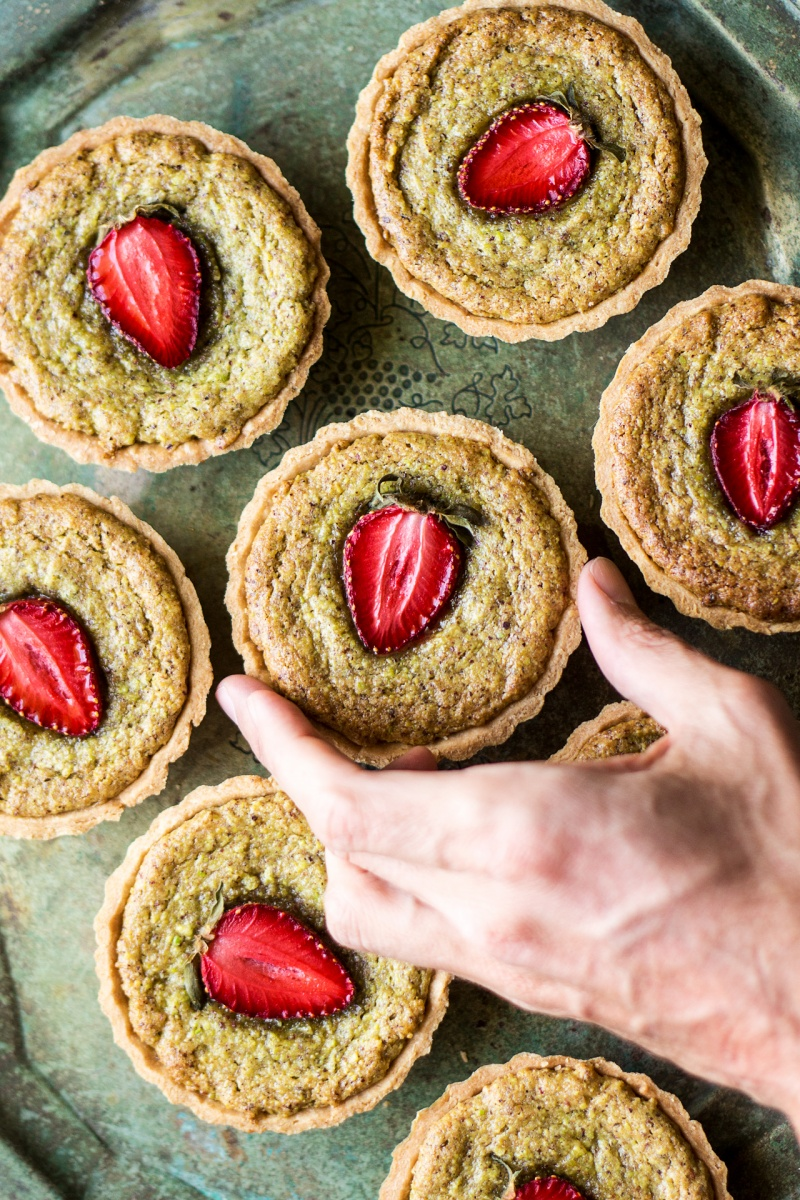 vegan pistachio frangipane picking one