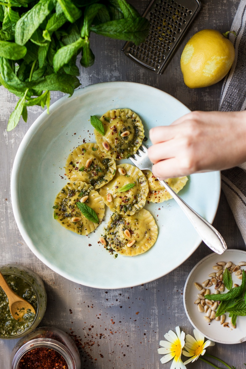 vegan ravioli broad bean styling