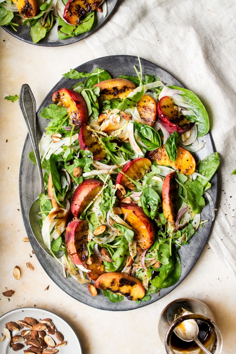 Peach Salad With Maple Balsamic Glaze Lazy Cat Kitchen