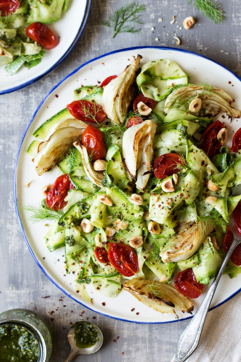 pesto zoodle salad