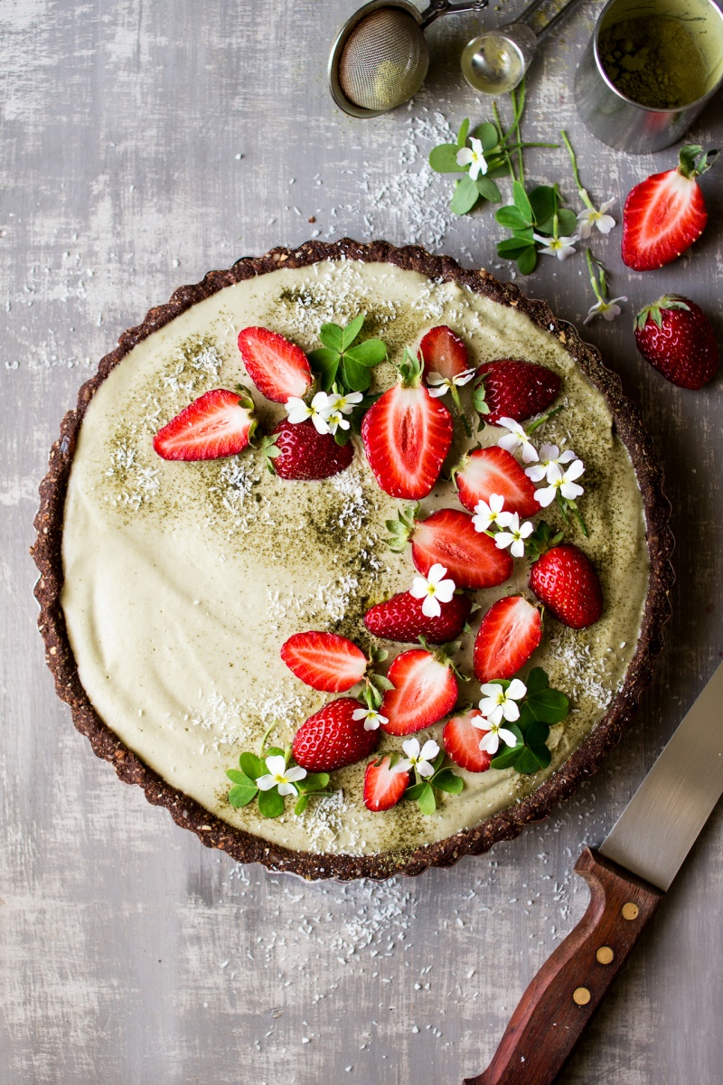 vegan matcha strawberry tart decorated