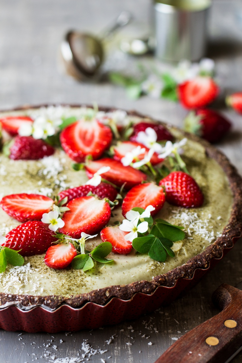 vegan matcha strawberry tart side