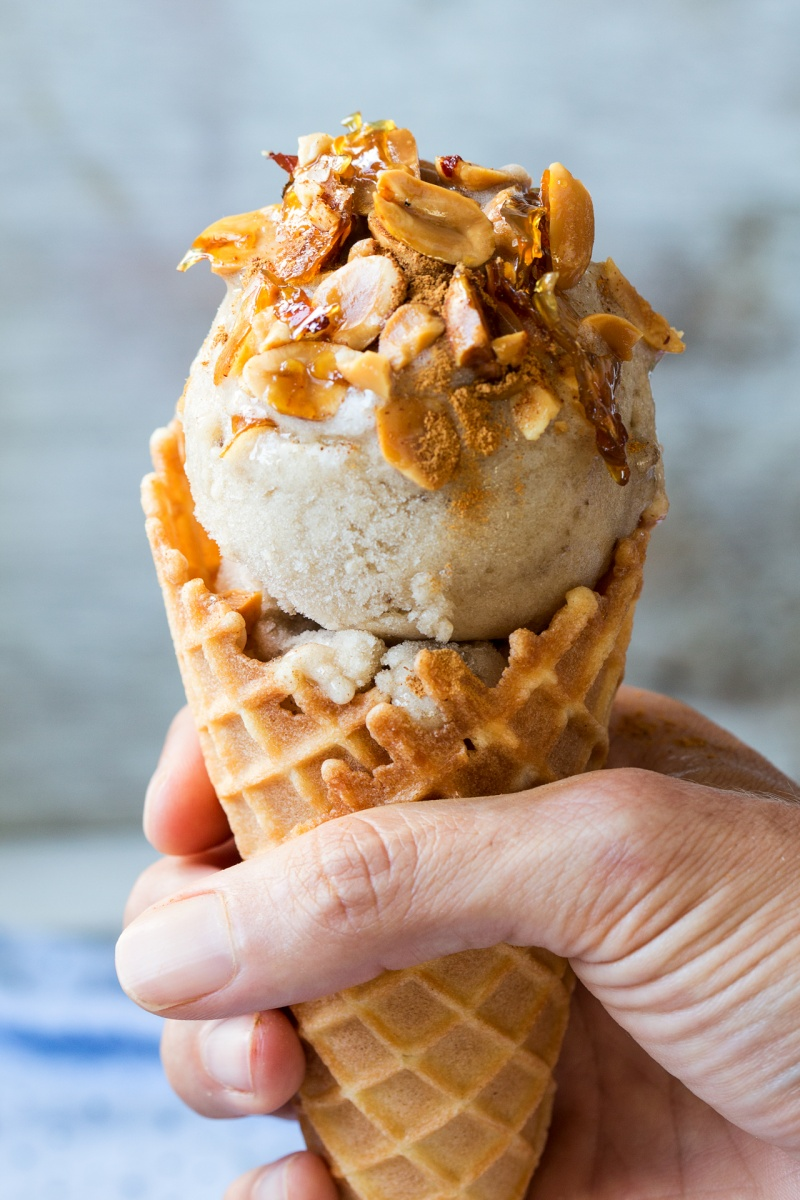 vegan banana ice cream cone