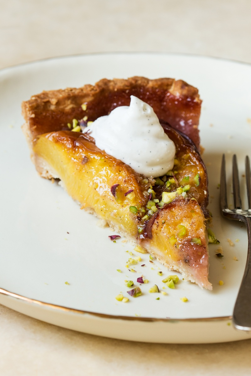 vegan peach tart slice