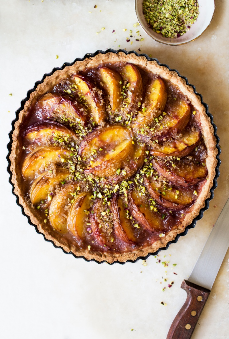 vegan peach tart whole