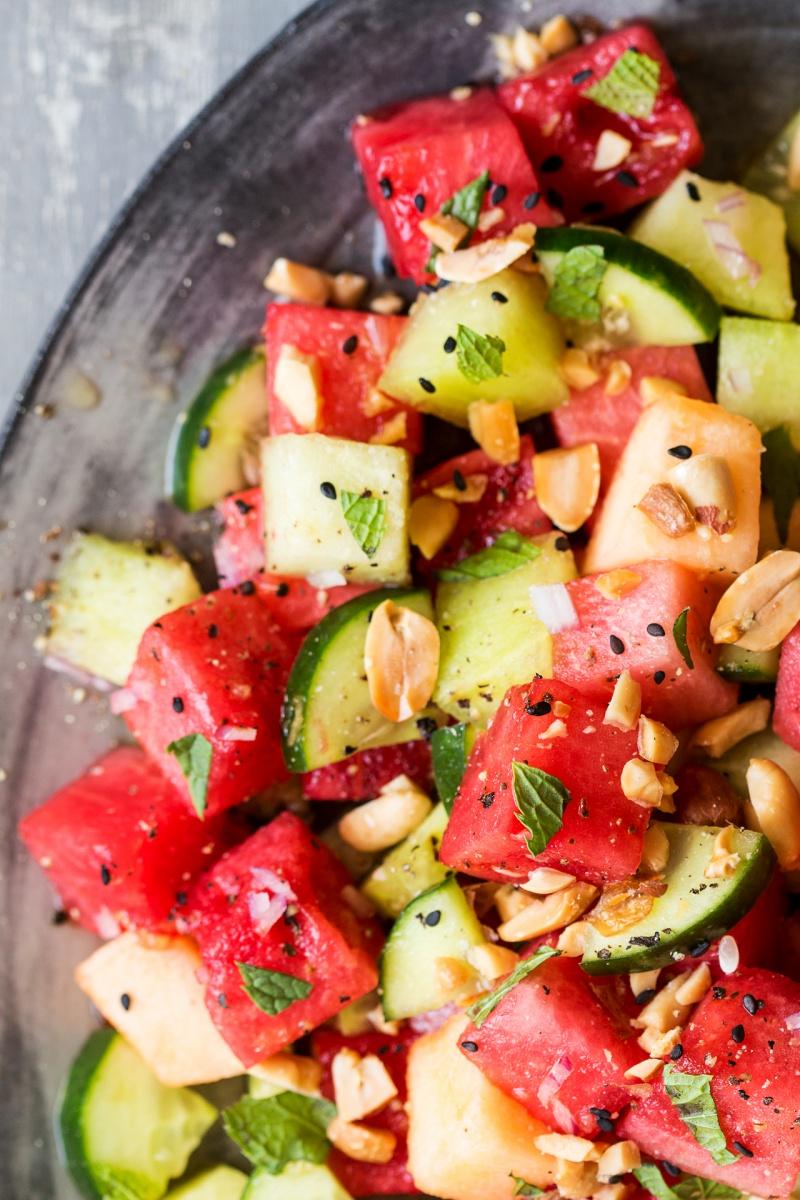 asian watermelon salad close