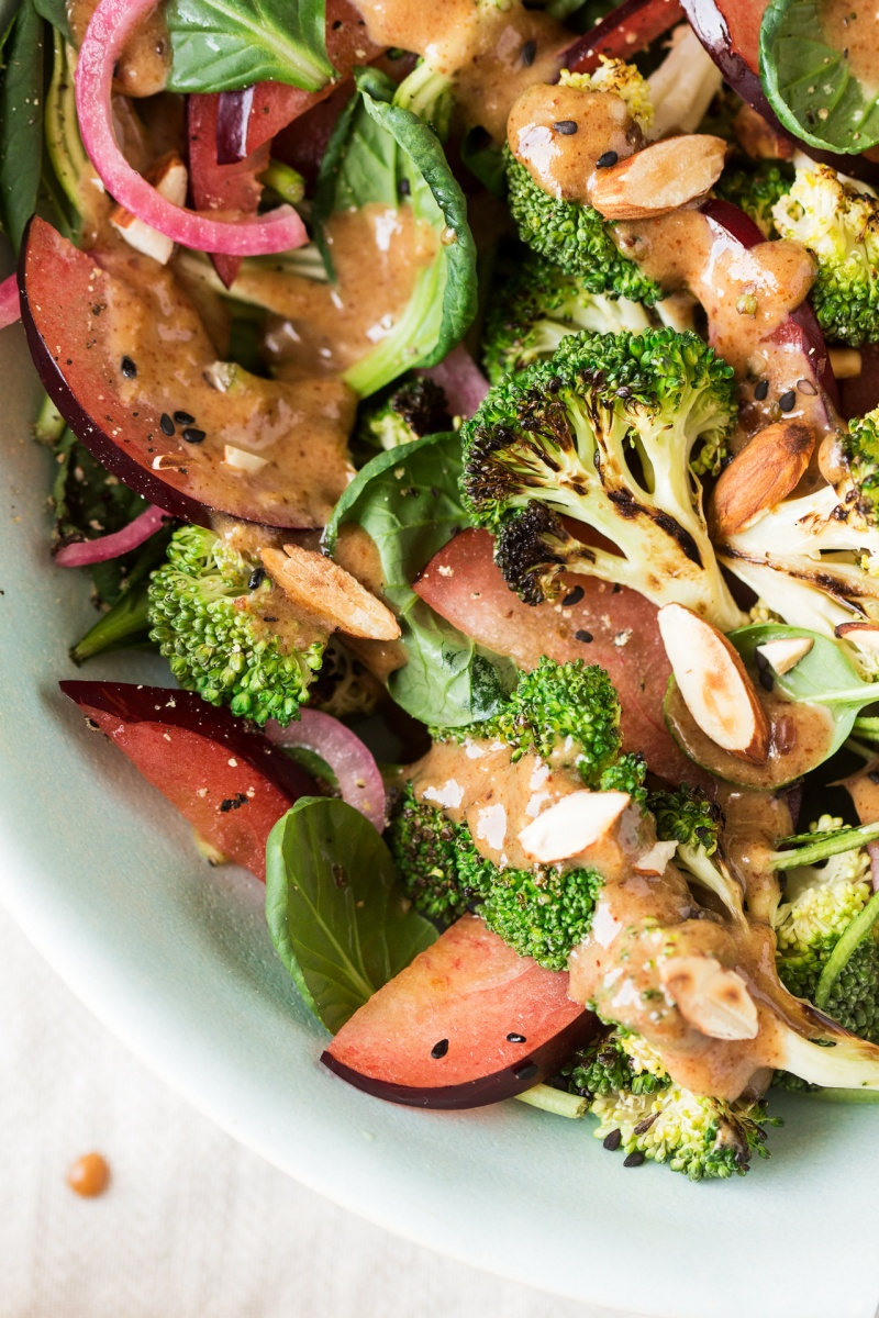 plum roasted broccoli salad close