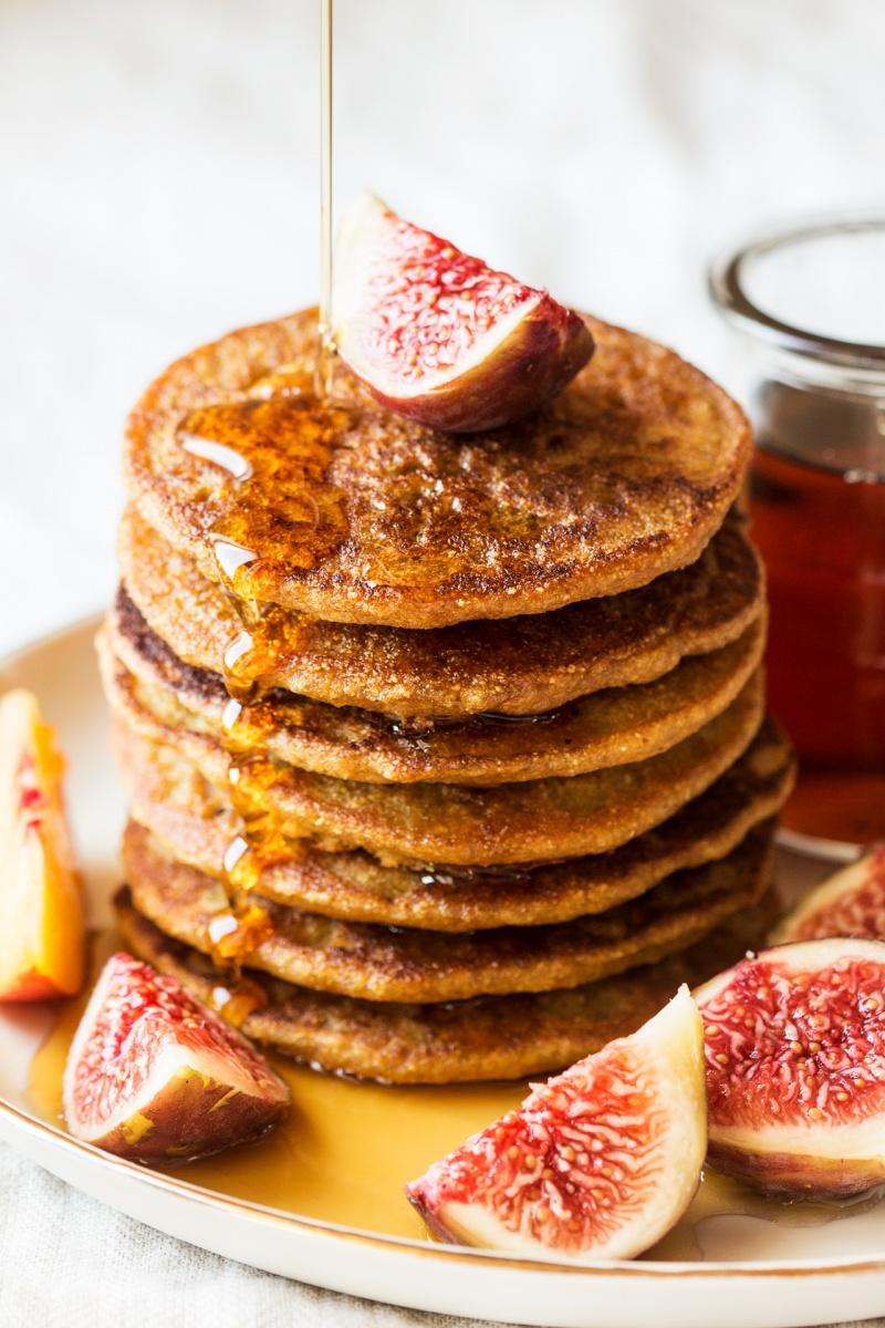 vegan quinoa pancakes stack