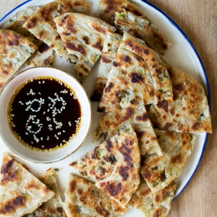 vegan scallion pancakes platter