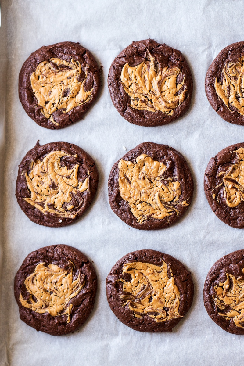 vegan brookies with peanut butter swirl tray