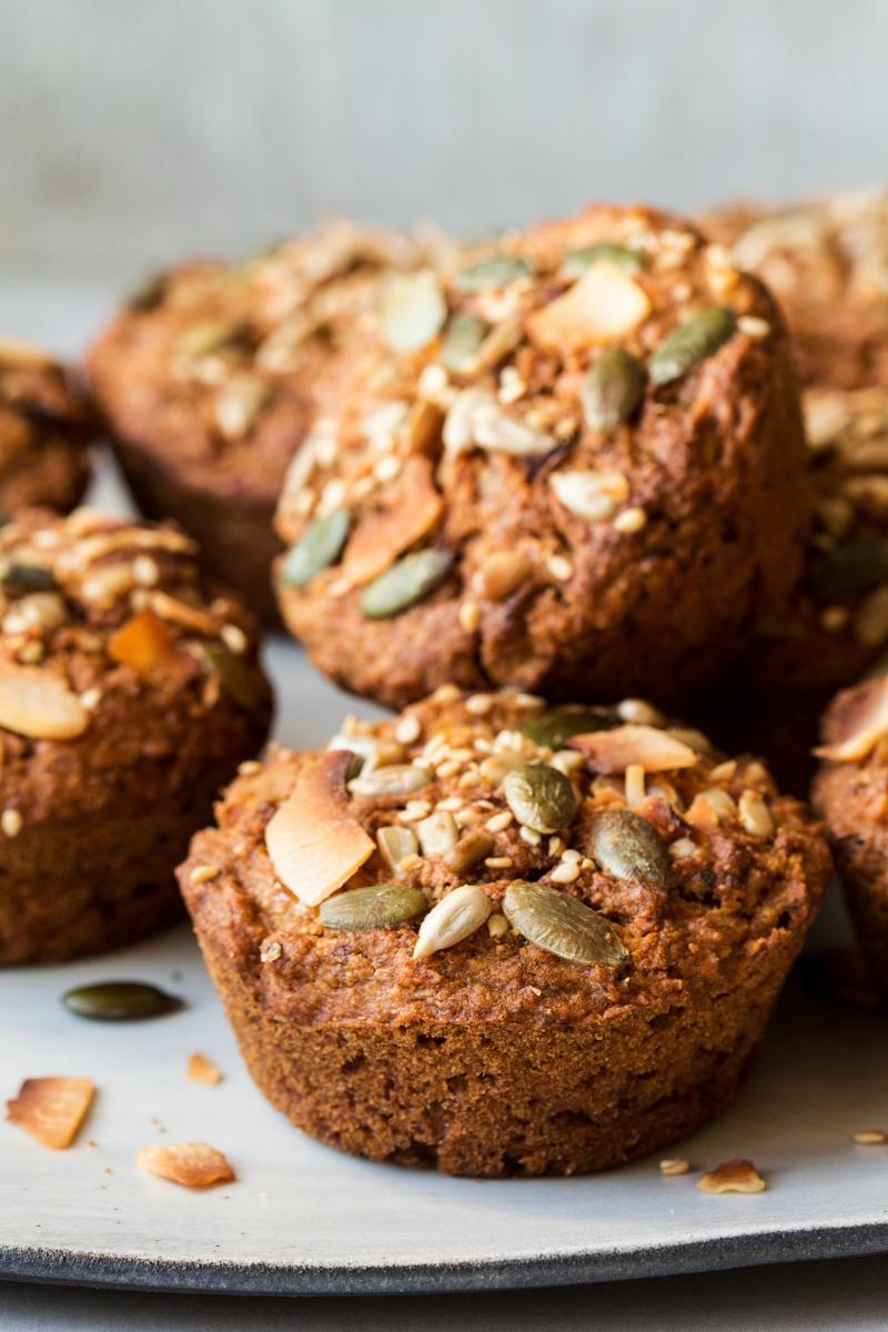 vegan carrot muffins stack